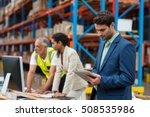 warehouse managers and worker... | Shutterstock . vector #508535986
