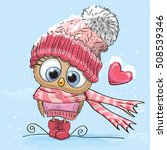 Cute Cartoon Owl in a hat and scarf