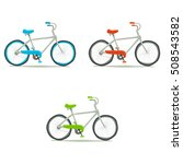 bicycle icon set. vector hand...