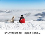 hiker and his dog  golden... | Shutterstock . vector #508545562