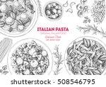 italian pasta frame. hand drawn ... | Shutterstock .eps vector #508546795