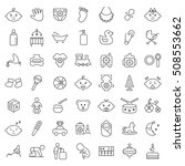 baby icon set in thin line... | Shutterstock . vector #508553662