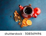 teapot with dry tea over the...   Shutterstock . vector #508569496