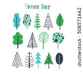 hand drawn tree icons. doodles... | Shutterstock .eps vector #508571662