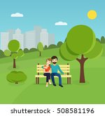 young couple in nature sitting... | Shutterstock .eps vector #508581196