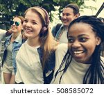 diverse group people hanging... | Shutterstock . vector #508585072