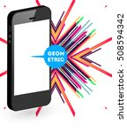 mobile phone icon with trendy... | Shutterstock .eps vector #508594342