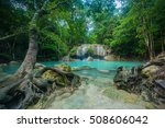 waterfall in forest at erawan... | Shutterstock . vector #508606042