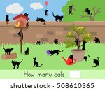 how many cats   counting game   ... | Shutterstock .eps vector #508610365