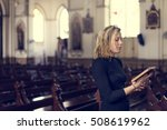 woman standing church religion... | Shutterstock . vector #508619962