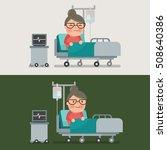 grandma resting at hospital bed ... | Shutterstock .eps vector #508640386