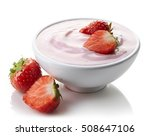 bowl of pink strawberry yogurt... | Shutterstock . vector #508647106