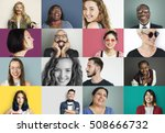 diverse people smiling... | Shutterstock . vector #508666732