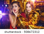 two girls  happy stylish... | Shutterstock . vector #508672312