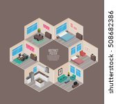 isometric house rooms  home set | Shutterstock .eps vector #508682386