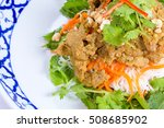 rice noodles with pork and...   Shutterstock . vector #508685902