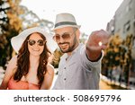 happy couple having fun on a... | Shutterstock . vector #508695796