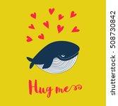 Cartoon Whale Vector Card. Kid...