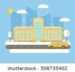 vector flat city winter... | Shutterstock .eps vector #508735402