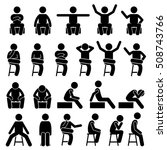 sitting on chair poses postures ... | Shutterstock . vector #508743766