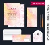 gentle wedding cards with pink...   Shutterstock .eps vector #508767538