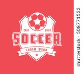 soccer emblem flat icon on red... | Shutterstock .eps vector #508771522