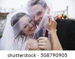portrait of happy newly married ... | Shutterstock . vector #508790905