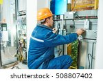 electrician works with elevator ... | Shutterstock . vector #508807402