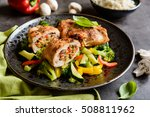 roasted chicken breasts stuffed ... | Shutterstock . vector #508811962