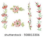 watercolor flowers in different ... | Shutterstock . vector #508813306