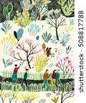 people walking in the garden   Shutterstock . vector #508817788