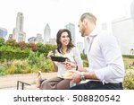 business people having lunch at ... | Shutterstock . vector #508820542