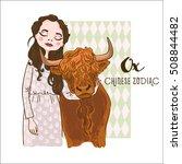 cute girl holding ox   symbols... | Shutterstock .eps vector #508844482