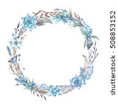 watercolor boho frame   circle...   Shutterstock . vector #508853152