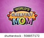 World's Greatest Mom Text Badg...