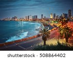 Night View Of Tel Aviv  Israel...