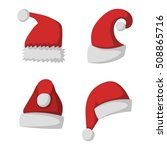 just red christmas santa hat at ... | Shutterstock .eps vector #508865716