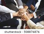 business team stack hands... | Shutterstock . vector #508876876