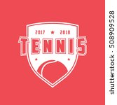 tennis emblem flat icon on red... | Shutterstock .eps vector #508909528