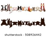 Stock vector farm animals border with silhouette 508926442