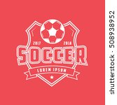 soccer emblem line icon on red... | Shutterstock .eps vector #508938952