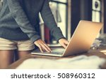 woman store manager laptop... | Shutterstock . vector #508960312