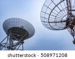 radio telescope scene at night...
