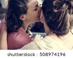 lesbian couple together indoors ... | Shutterstock . vector #508974196