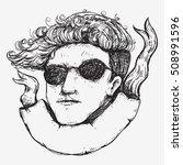 barber boy drawing sketch line... | Shutterstock .eps vector #508991596