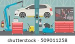 interior of a car repair shop | Shutterstock .eps vector #509011258