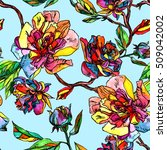 Floral Pattern Tropical Flower...
