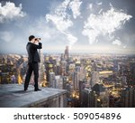 businessman looking to the... | Shutterstock . vector #509054896