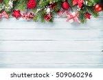 christmas wooden background... | Shutterstock . vector #509060296