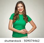 smiling woman standing against... | Shutterstock . vector #509074462
